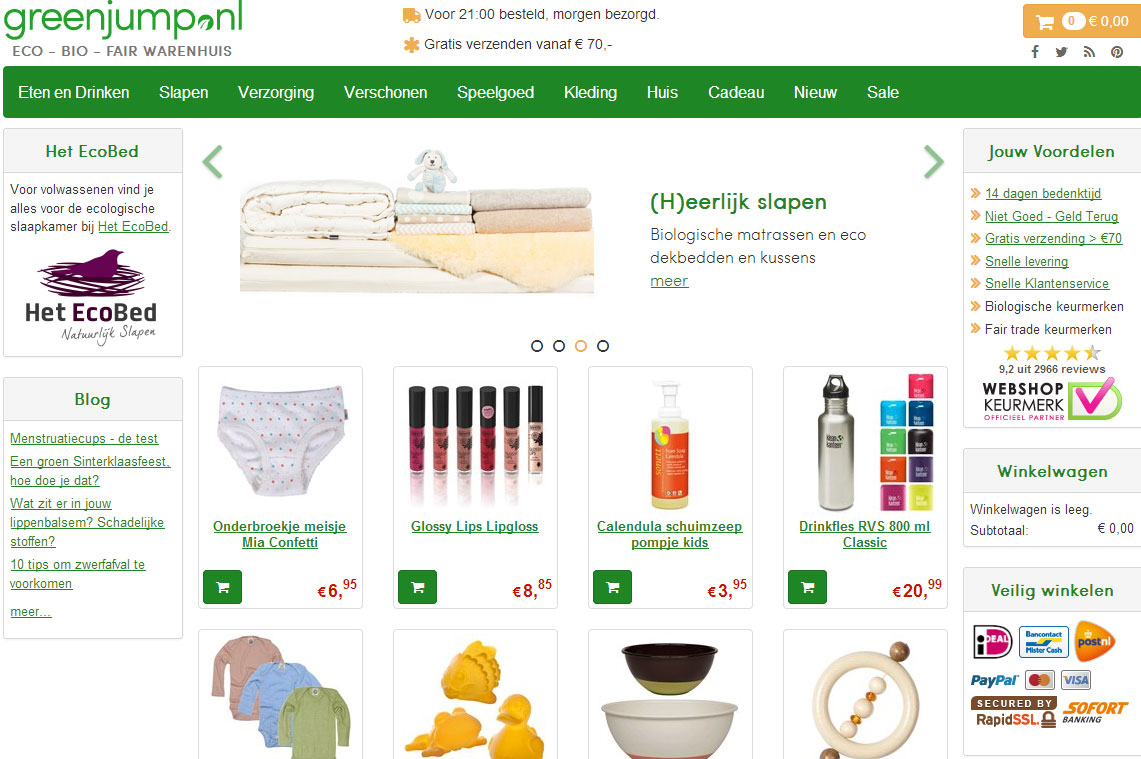 Webwinkel Greenjump kiest voor legbordstellingen van Unicompact